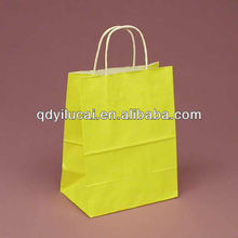 Semi- finish yellow kraft paper bag for shopping with cheapest price and size customized
