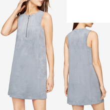 wholesales women clothes fashion gray Sleeveless suede casual dress