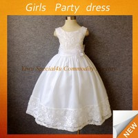 New style girls birthday party lace dresses pure white princess frocks little girl wedding dress SPSY-770