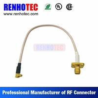 electrical cable couplers, R/A SMA screw jack to SMA plug with 4 hole flange coaxial wire rope connectors, rf jumper cable