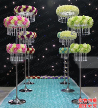 Two tiers crystal wedding leading road flower stand pillar walkway
