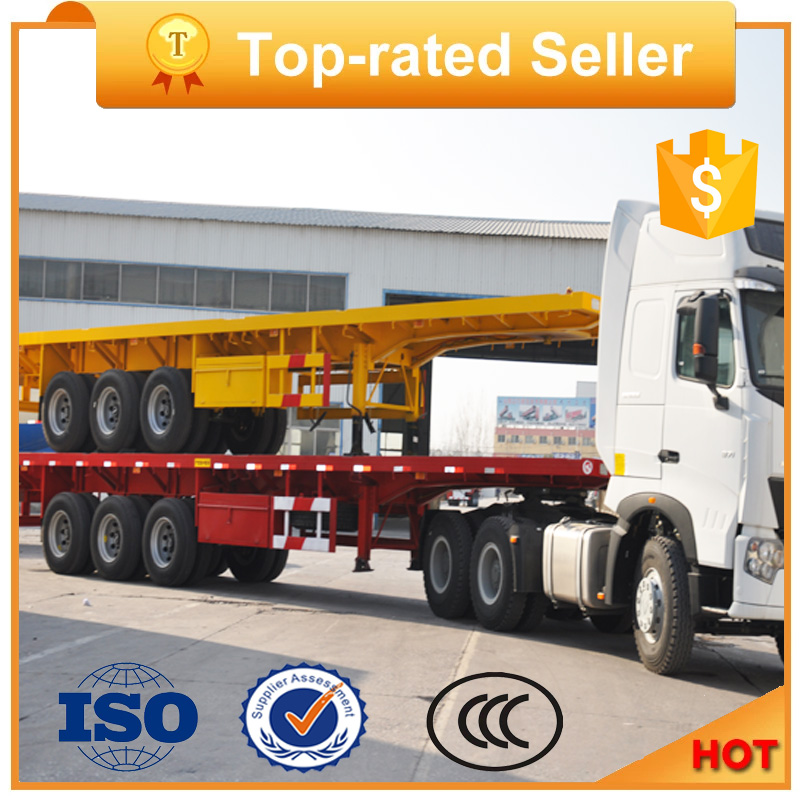 3 Axles Skeleton Chassis 40ft Flatbed Container Semi Trailer