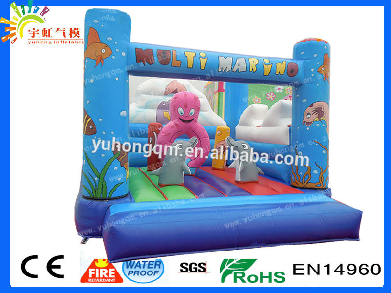 Hot Selling Sea World Inflatable Mini Bouncer with Obstacle for Kids octopus inflatable bounce bed