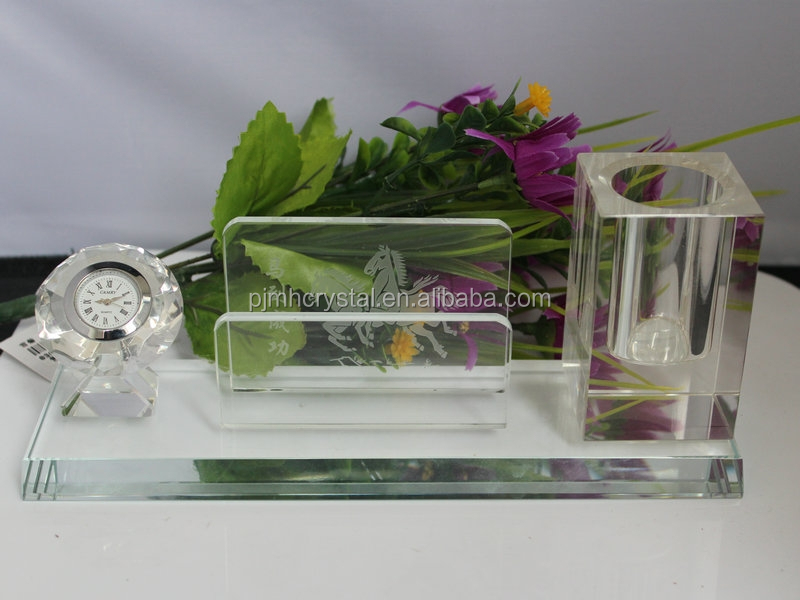 Custom Made Unique gifts Crystal Desk Set crystal clock and cube business card holder and pen gift set MH-MP0021