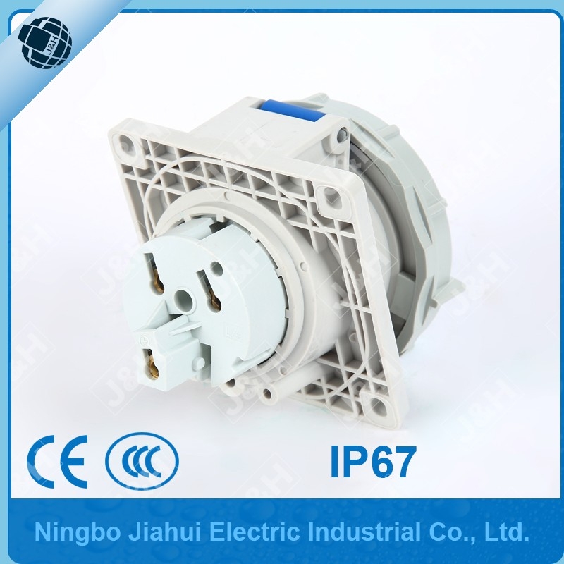 waterproof electrical panel mounted socket 32A 3P IP67 angle socket european industrial female plug