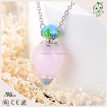 Glass Bottle Design Pink Color Pave Zircon Perfume Bottle 925 Sterling silver Necklace