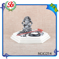 SGG214 Antique Home Decoration Marble Ganesh Murti And Decorative Candle Holder
