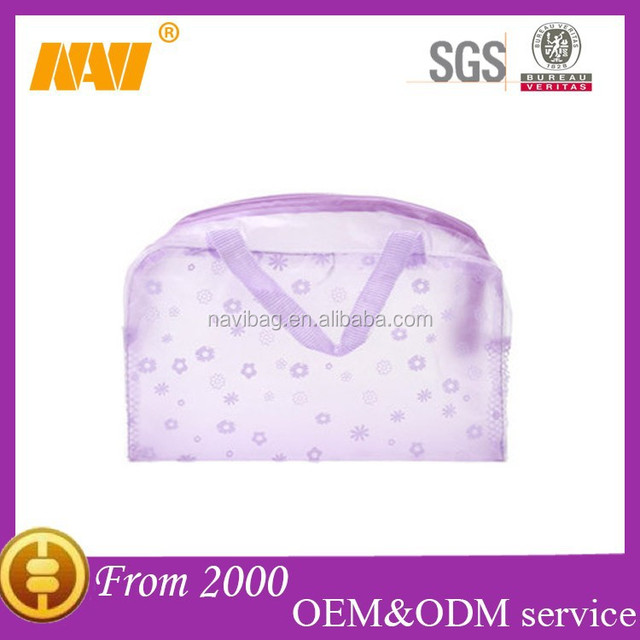 Beatiful floral print waterproof travel PVC transparent cosmetics bag case with handle makeup bag case organizer toiletry bag