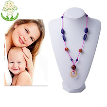 Fancy Wood Pendant Silicone Chew Beads Chain Necklace For Baby Teething