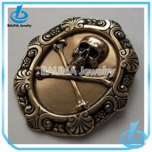 New arrival custom design alloy antique bronze man skull brooches