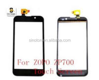 For ZOPO ZP700 Touch Screen Digitizer Replacement With Logo Black Color Mobile Phone Outer Glass Lens With Sensor Flex Cable