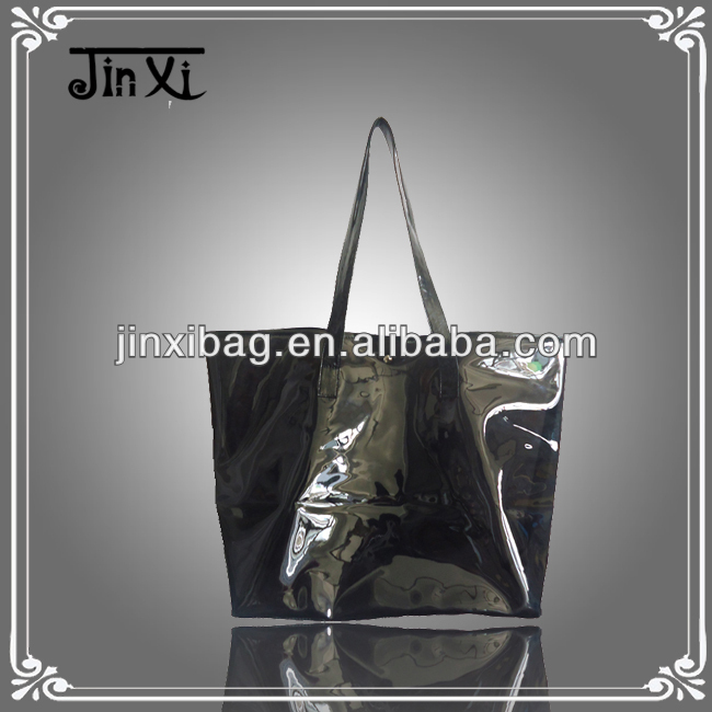 Black clear PVC jelly bags handbags fashion.