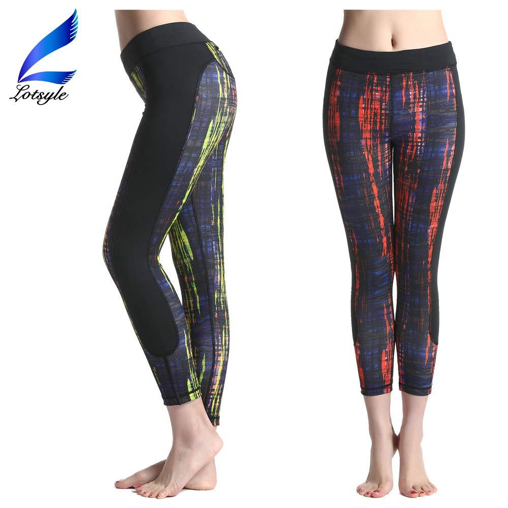Mesh Yoga Pants Latest Stripe Colorful Fitness Pants Sports Leggings