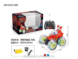 Four-way remote control stunt skip car toy with light and music,Latest tumbling car,RC tip lorry toy