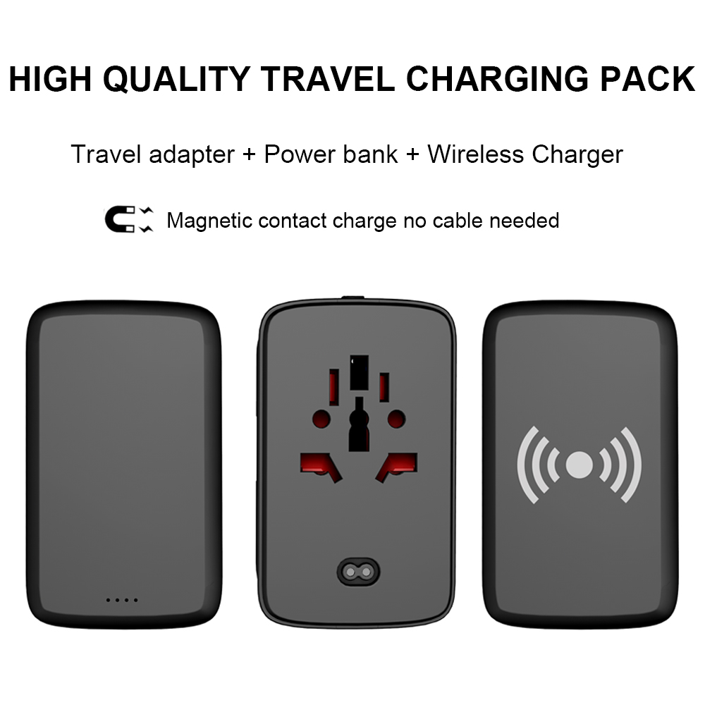 High quality travel charging pack universal travel adapter with powerbank and wireless charger pad