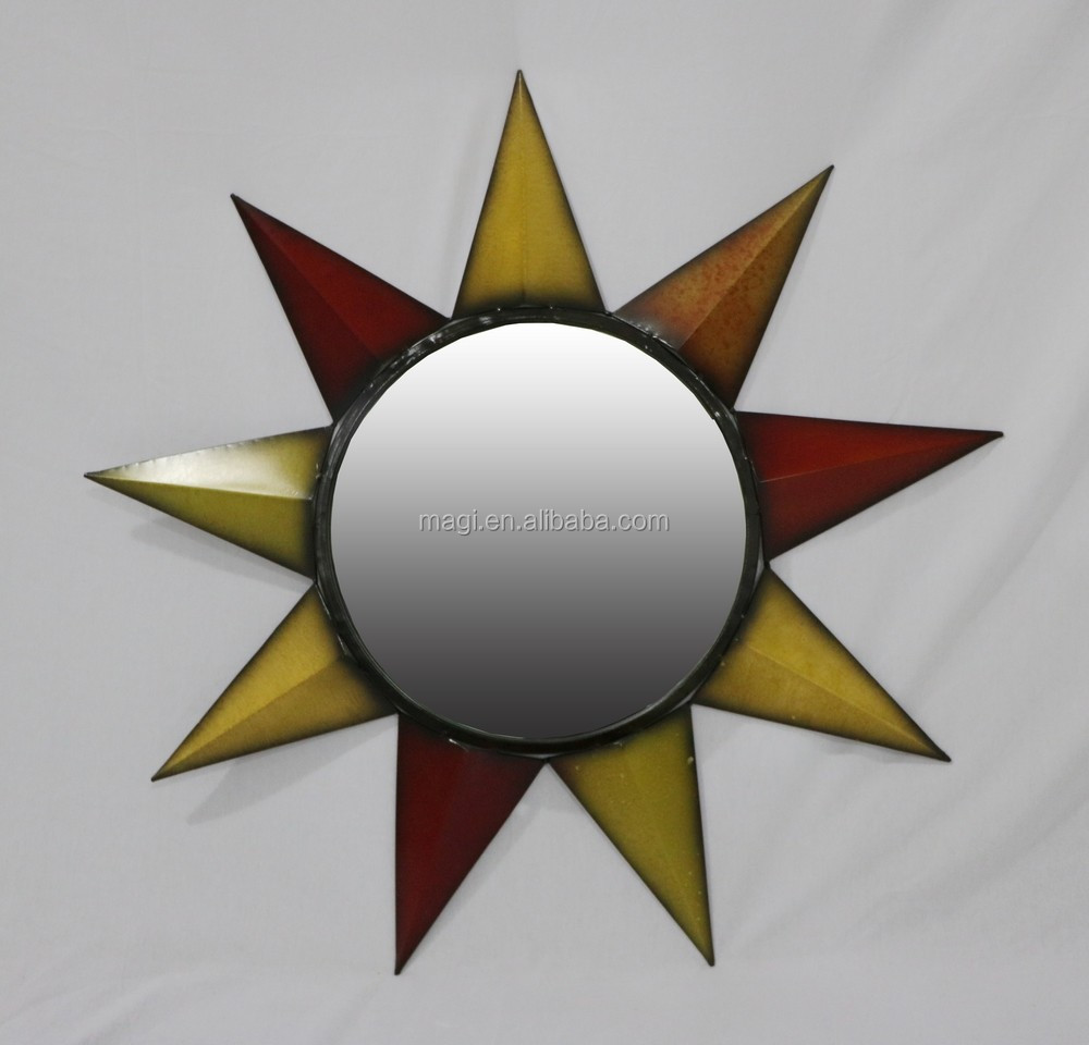 Vintage Decorative Round Star Shape Metal Wall Mirror