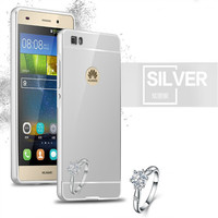 Luxury electroplating mirror pc silver color mobile phone cover case for huawei p8 lite