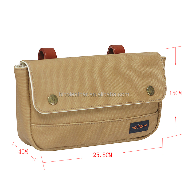 Tourbon Vintage Bicycle Front Pouch Bike Panniers Waxed Canvas & Leather Waterproof Storage bike handlebar bag