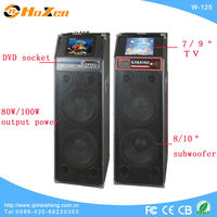 "Professional powerful audio stage boombox speaker withUSB/SD/FM/EQ/DVD/7""or 9"" screen/remote control in Guangzhou"