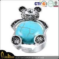 2015 adjustable lovely alloy turquoise bear ring