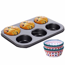 Nonstick Bakeware 6-Cup Muffin Pan with Silicone Cupcake Liners (Set of 6) by Boxiki Kitchen | Premium Nonstick Baking Muffin Ti