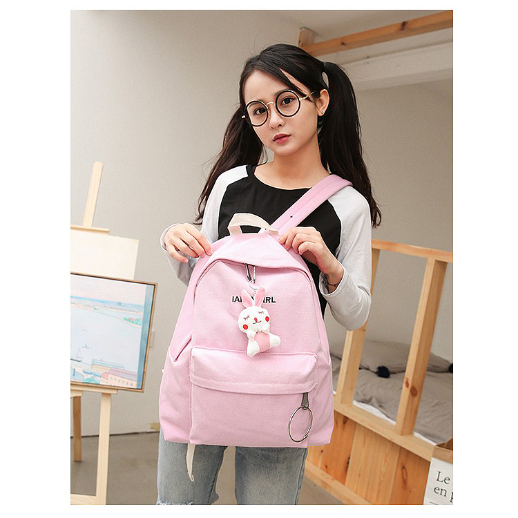 2017 In Stock Customized Cute Korea Stylish Canvas Backpack Bag School Rucksack Travel Shoulder Backpack For Teens Girls