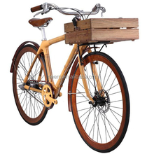 Eco-friendly 3-Speed Original Bamboo White Joint City Bicycle With Wooden Crate