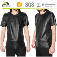 Custom Short Sleeve Men Full Leather t shirts