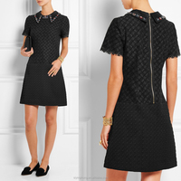 Eur-american retro style lapel folds the waist short sleeve dress