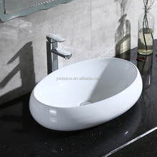 Hotel Oval shape porcelain countertop portable wash basins ceramic ware sink art hand sink cabinet vanity tops