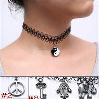 2015 new womens elastic line necklac jewelry Alloy Pendant ,handmade vintage stretch tattoo choker necklace
