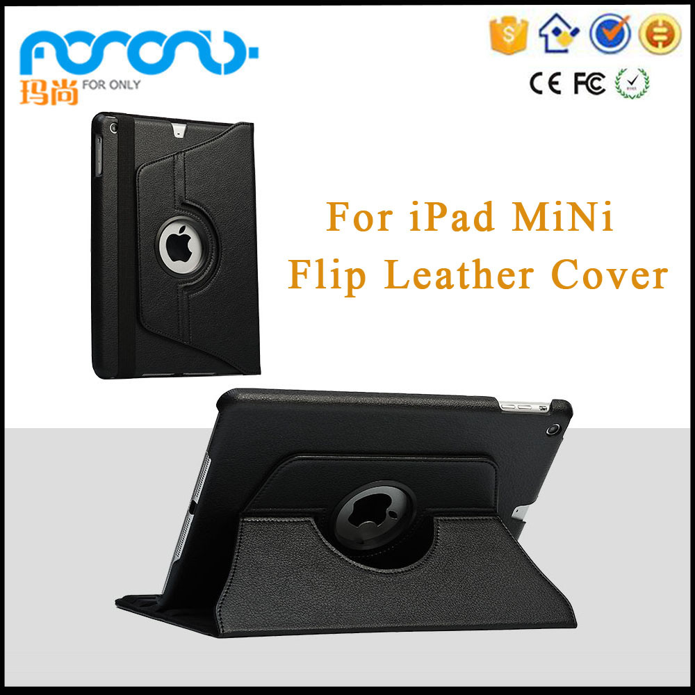 Tablet Accessories 360 Rotating Stand Flip PU Skin Cover Case For ipad mini Tablet