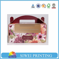 Hot sale customized paper box for packing cakes/cupcakes with PVC