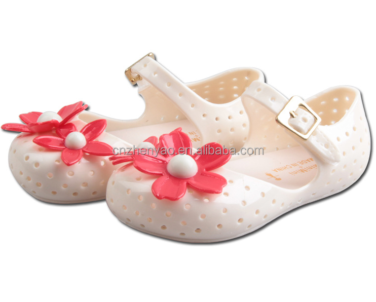 2015 new design baby sandals shoes jelly flower sandals for gril kids