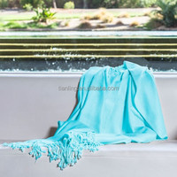 Luxury Blue 100% Bamboo Cotton Woven Throw Blanket for Sale