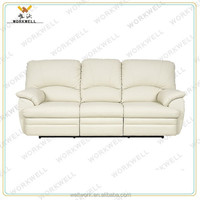WorkWell modern style white genuine leather 3 seat sofa Kw-Fu2