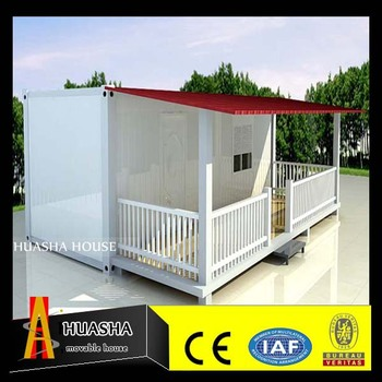 Flat Roof House Container Housing with Veranda