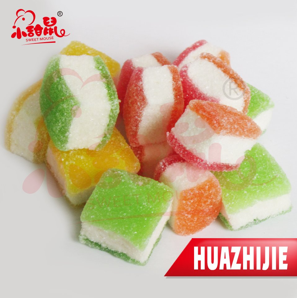 255201610 Super Taste 3D Cube Marshmallow Coated Sugar Soft Jelly Candy