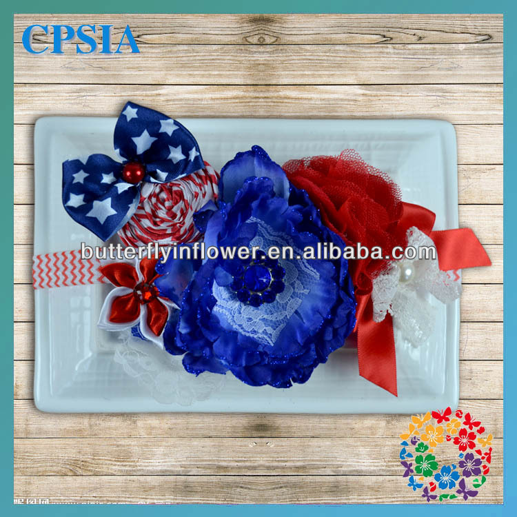 Newest!Flag Days Baby Headband Royal With Red With White Foe Headband For Lovely Girls Wholesale Hair Accessories
