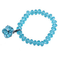 2015 New Fashion Trendy Blue Glass Beads With Lobster Clasps Charm Bracelet For Women Christmas Gift fine jewelry bijoux