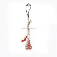 silver tone split ring Qatar flag cell phone strap for national day
