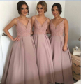 Elegant Deep V Neck Custom Made Satin Sleeveless Spaghetti Strap Backless Bridesmaid Dress