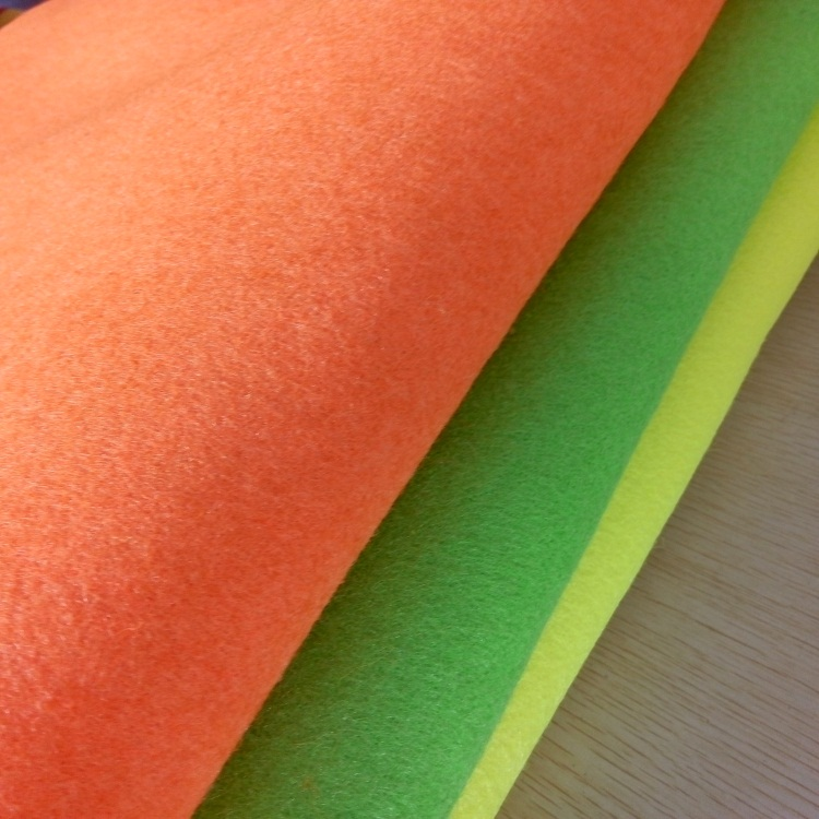 Bright yellow color tennis ball felt fabric