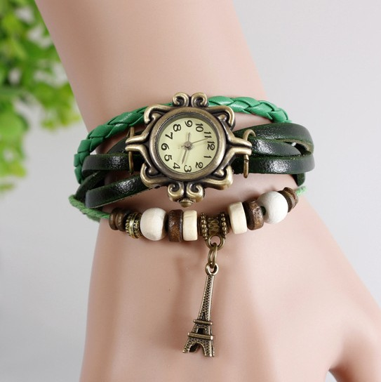Beautiful Girl Lady Hot Vintage Women's Eiffel Tower Quartz Leather Bracelet Wrist Watch China Cheaper Watch Wholesale