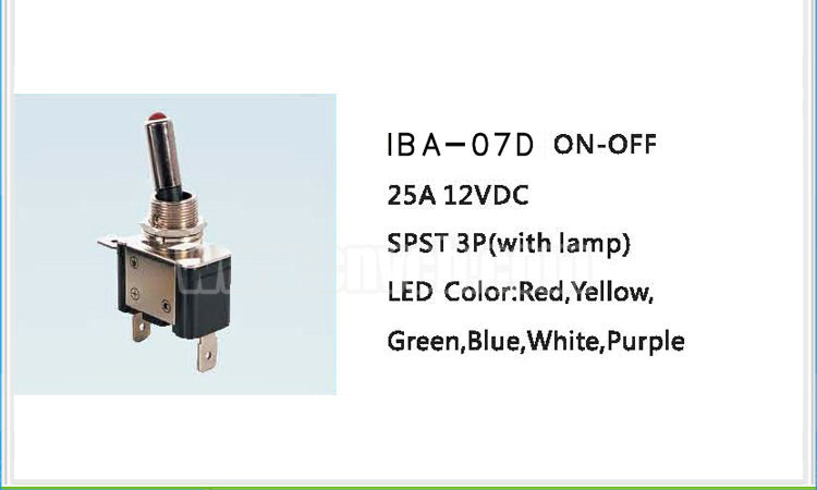 AS06 IBA-07D Blue ON OFF Car Toggle Switch For Lamp 3PIN bakelite material automatic car 25A light switch 12V