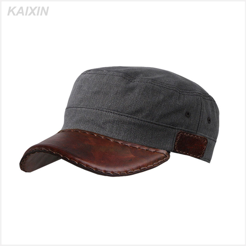 custom curved leather brim adjust blank military hats army caps