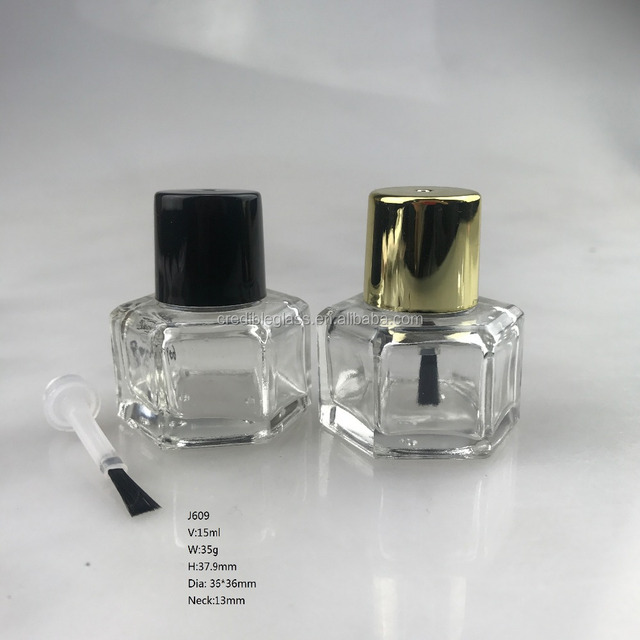 J609 13ml 15ml hexagon shaped nail polish glass bottle with brush