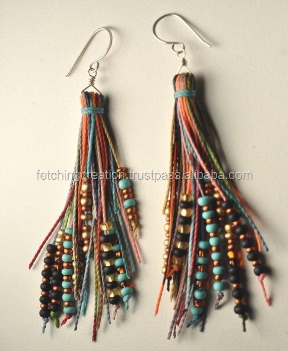 Wholesale multicolored bead with rope on metal earrings