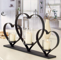 2A304 3 heart linked to heart black metal and 3 glass pillar candle holder