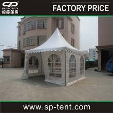 easy to assembly white wedding pagoda tent decorated with curtains & linings